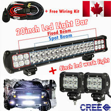 20inch CREE LED Light Bar Combo + 4inch Cree Work Lights Offroad Truck Jeep SUV