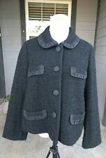 J.CREW BOUCLE TWEED WOOL Jacket Black Frilly Trim Pockets Lined Women's Size 10