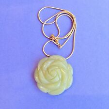 OLIVE JADE SEMI PRECIOUS CARVED STONE ROSE PENDANT NECKLACE CORAL FLOWER QUARTZ