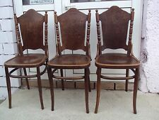 Set of three Chairs, Bent Wood Thonet Style 1880 Signed