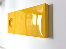 Metal Wall Hanging Sculpture Signed POP Art Mid Century Modern Home YELLOW