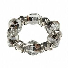 Handcrafted Silver Black and Clear Copper Foil Lampwork Beads Stretch Bracelet
