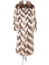 CHRISTIAN DIOR Cream+Brown Sable Fox Fur Chevron Full-Length Coat Jacket M $60K
