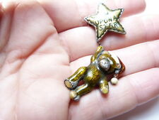 Vintage silver tn metal brown red enamel Wish upon a Star Bear Brooch signed TC