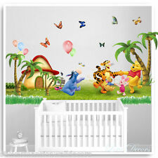 Winnie The Pooh Wall Stickers Animal Tree Nursery Baby Kids Bedroom Decals Art
