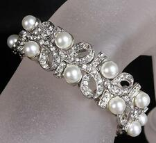 Vintage Pearl Bridal Bracelet Rhinestone Bow Knot Chain Crystal Wedding Bangle
