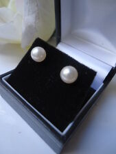 VINTAGE 1960s 7m AAA WHITE AKOYA PEARL 9ct GOLD STUD EARRINGS SILVER LUSTRE BOX