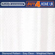 Euroshowers White Diamond Shower Curtain Weighted Hems 200cm x 200cm 67218