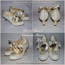 Ivory Lace, Crystal and Pearl Bridal Wedding Booties Shoes Heels Boots