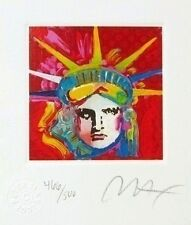 "Fab! Peter Max SIGNED with COA Liberty Head IV, Ltd Ed Lithograph 3.5"" x 3"""