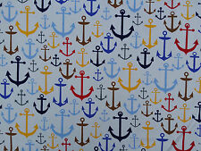 Large Anchors beach nautical upholstery cotton fabrics curtains blinds FABRIC