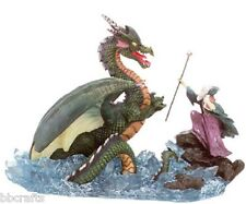 NEW IN BOX MERLIN THE MAGICIAN TAMING A DRAGON ON WATER COLLECTIBLE STATUE