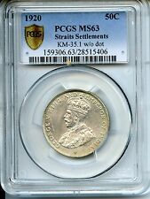 MALAYSIA  1920  50 CENTS  PCGS  MS 63  STRAITS  SETTLEMENTS KM 35.1