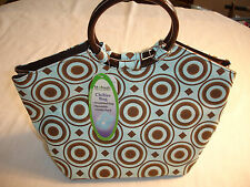 New FIT & FRESH Blue & Brown Athens Insulated Chiller Lunch Bag Chiller Pack NWT