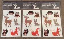 18 Magnets - 3 Packs Fox Owls Deer And Woodland Animals New