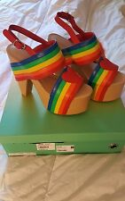Dolls Kill Rainbow Connection Platforms Current Mood Size 9 and Rainbow Fur Key