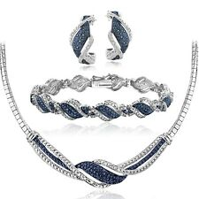 3/4 Ct Blue & White Diamond Twist Necklace Bracelet Earrings Set in Brass
