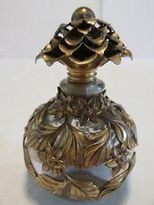 Gilt Metal Overlay Perfume Bottle with Dauber Flower Final Round Ball Bottle