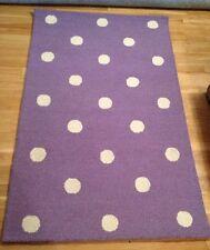 Pottery Barn Dottie Purple White Dot Lavender Girl Bedroom WOOL Rug Carpet 5 NWT