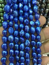 """8-9MM Blue irregular freshwater pearl loose beads 13 """"ghefd"""