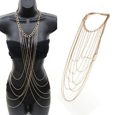 Ladies Sexy Body Full Metal Chain Gold Jewelry Necklace Bikini Beach Harness New