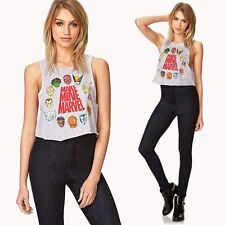 """NWT size LARGE """"Make Mine Marvel"""" comic characters lightweight crop top in gray"""