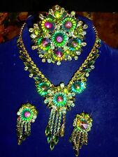 VTG JULIANA D&E WATERMELON RIVOLI RHINESTONE NECKLACE BROOCH EARRING SET PARURE
