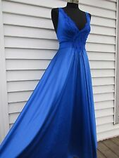 Vintage Vandemere Full Sweep Peignoir Stretch Lace Nightgown Royal Blue L 0662RY