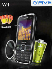 gfive four sim quad sim 4 sim at a time w1 mobile black new gsm cam mmc slot