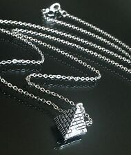 "Silver 3D Egypt Giza Pyramid Pendant Necklace on Long 30"" Stainless Steel Chain"