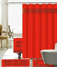 18 Piece Charlton Embroidery Banded Shower Curtain Bath Set (Red)