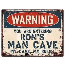 PP3336 WARNING ENTERING RON'S MAN CAVE Chic Sign Home Decor Funny Gift