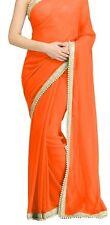 Bollywood Designer Party Wear Orange Color Pearl Border Saree