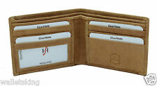 Starhide Mens Gents Luxury Brown Real Leather Canvas Designer Bifold Wallet 1214