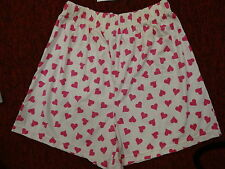 LADIES SLEEP SHORTS (White w/ Pink Hearts)  Size L