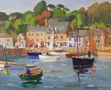 Eric Ward Original Oil Painting - Padstow Harbour Scene With Boats (Cornish Art)