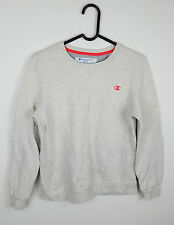 VTG RETRO WOMENS BEIGE CHAMPION ATHLETIC SPORTS OVERHEAD SWEATSHIRT JUMPER UK 8