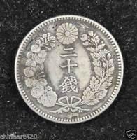 Japan 20 Sen Silver Coin Japanese Meiji Emperor 1876-1905