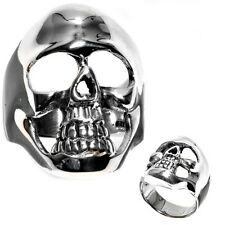 Men's 925 Sterling Silver Skull Biker Ring Size 11