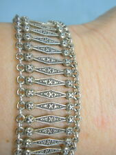 STERLING SILVER 925 VINTAGE ESTATE Wide, Spindle Link Bracelet - Over 30 Grams