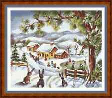 "'BUNNY RABBIT RETREAT' Cross Stitch Chart (8¾""x7½"") Christmas/Xmas/Cute"
