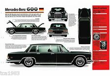 MERCEDES-BENZ 600 GROSSER SPEC SHEET/Brochure:1963,