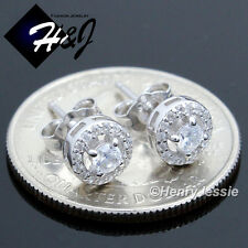MEN WOMEN 925 STERLING SILVER 7MM LAB DIAMOND BLING ROUND STUD EARRING*E107