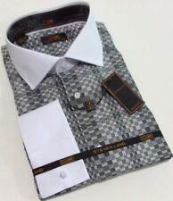 Dress Shirt by Steven Land Spread Collar French Cuffs 15.5 32/33 DW 539 BLK/WHT