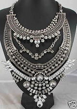 Newest Design huge Lady Statement Clear crystal chunky chain charm necklace q996