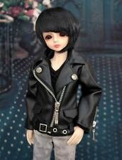 1/4 BJD msd boy doll outfits black leather jacket dollfie luts minifee ship US