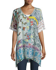 NWT $230 Johnny Was Butterfly Print 100% washable silk Long Tunic Top Sz XL XXL