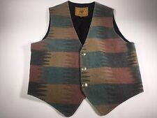 True Grit Western Wear Southwest Indian Wool Blanket Cowboy Vest - Men's M 4