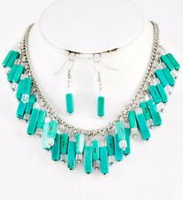 Clear Crystal Beads Turquoise Long Stones  Dangle Necklace Set Fashion Jewelry