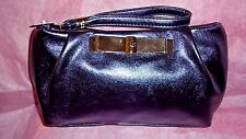 NEW VICTORIA'S SECRET PURPLE GOLD BOW COSMETIC CASE MAKEUP BAG  NWT WRISTLET